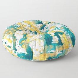 Teal and Gold Splatter Paint  Floor Pillow