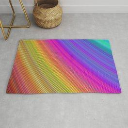 Vibrant Colorful Rainbow Slices Fractal Art Rug