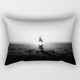 walk alone at the beach on sunset time Rectangular Pillow