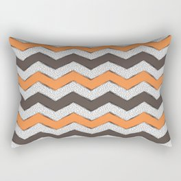 Zigzag - Grey & Orange Rectangular Pillow