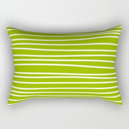 Apple Green & White Maritime Hand Drawn Stripes- Mix & Match with Simplicity of Life Rectangular Pillow