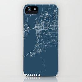 Kelowna Blueprint Street Map, Kelowna Colour Map Prints iPhone Case