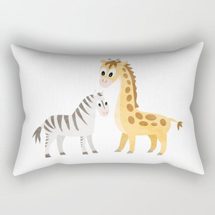 Safari Baby Zebra and Giraffe Rectangular Pillow