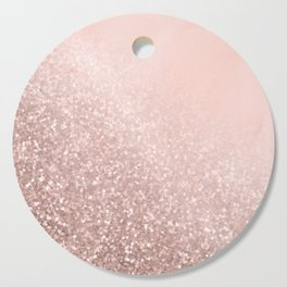 Rose Gold Sparkles on Pretty Blush Pink VI Cutting Board