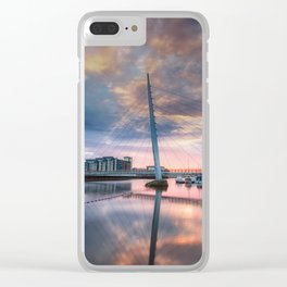Swansea marina and Millennium bridge Clear iPhone Case