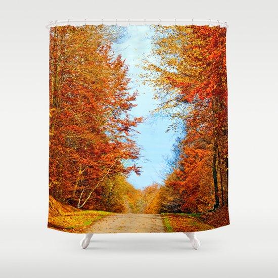 Through the fall Shower Curtain