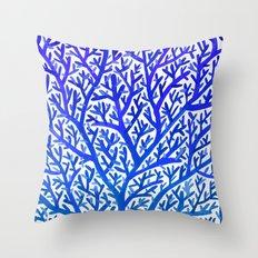 Fan Coral – Blue Ombré Throw Pillow