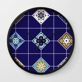 Talavera Mexican Tile – Navy & Bronze Palette Wall Clock