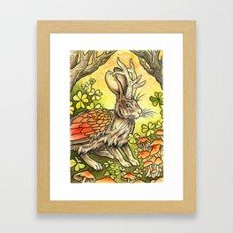 Winged Jackalope in Summer Plumage Framed Art Print