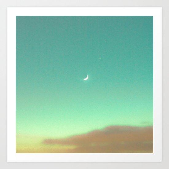 Little Moon in a Magic Blue Sky  Art Print