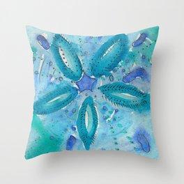 Mermaid's Coin Watercolour abstract Throw Pillow