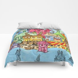 Suburbia USA Watercolor Comforters