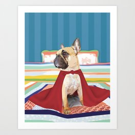 Super Frenchie: French Bulldog in Cape Art Print