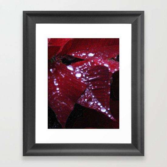 Diamonds on red velvet Framed Art Print