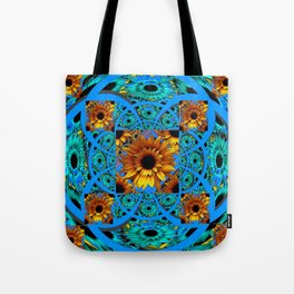AWESOME BLUE & GOLD SUNFLOWERS  PATTERN ART Tote Bag