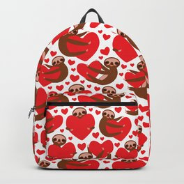 pattern Three-toed sloth holding red heart, on white background. Valentine's Day Card. Funny Kawaii Backpack