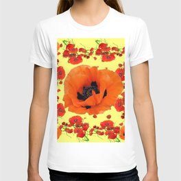 MODERN ART POPPIES GARDEN GREY DESIGN T-shirt