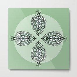 Boho Leaves - Pastel Green Metal Print