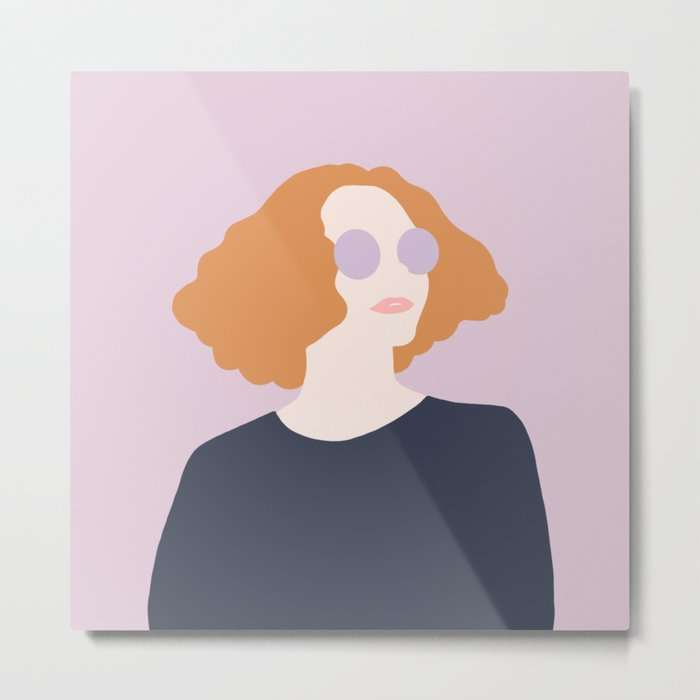 Orange Hair Girl // Minimalist Indie Rock Music Festival Lavender Sunglasses by Mighty Face Designs Metal Print
