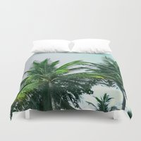 palm trees Duvet Covers featuring Palm Trees by Sweet Karalina