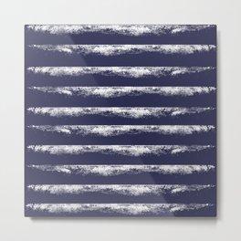 Irregular Stripes Dark Blue Metal Print