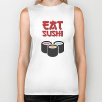 sushi Biker Tanks featuring Sushi by flydesign