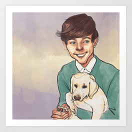 Louis Tomlinson with a Puppy Art Print