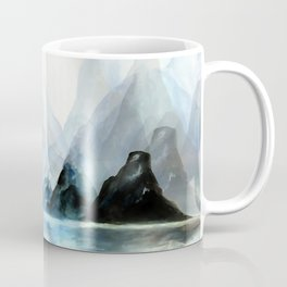 Mountain#1: a minimal, abstract of Milford Sound in New Zealand mixed media painting Coffee Mug