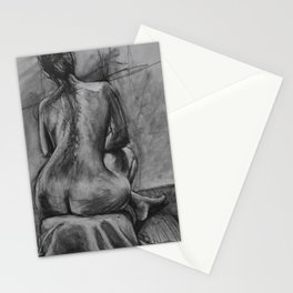 Woman's back in charcoal Stationery Cards
