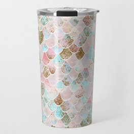 Wonky Watercolor Sea Foam Glitter Mermaid Scales Travel Mug
