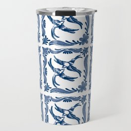 Blue and white swallows birds chinoiserie china porcelain toile asian ginger jar delft pattern Travel Mug