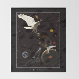 """Spark of Creation"" Raven Artwork Throw Blanket"