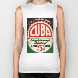 Vintage Cuba Soft Drink Poster Biker Tank