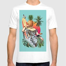 Chillax White Mens Fitted Tee SMALL