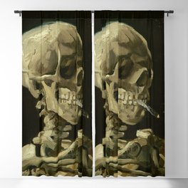Skull of a Skeleton with Burning Cigarette by Vincent van Gogh Blackout Curtain