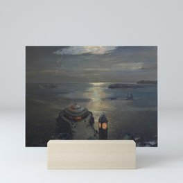 Plymouth Sound by Moonlight and Searchlight coastal nautical landscape painting by Julius Olsson Mini Art Print