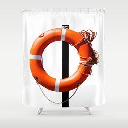 Orange live saving ring Shower Curtain