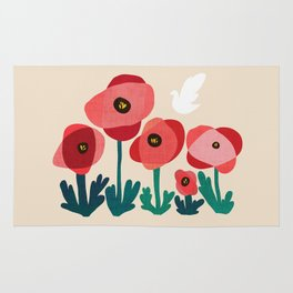Poppy flowers and bird Rug
