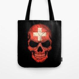 Dark Skull with Flag of Switzerland Tote Bag