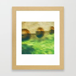 Green yellow triangle pattern, lake Framed Art Print