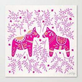 Swedish Dala Horses – Pink Palette Canvas Print