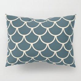 Dark Blue & Beige Fish Scales Pattern Pillow Sham