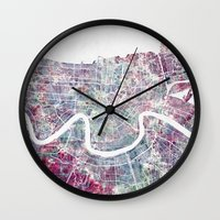 new orleans Wall Clocks featuring New Orleans  by MapMapMaps.Watercolors