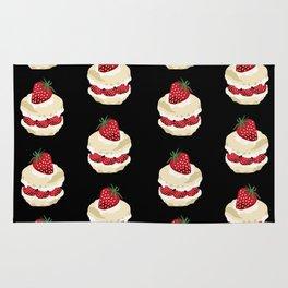 Fruit Shortcake dessert food apparel and gifts food fight black Rug
