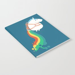 Fat Unicorn on Rainbow Jetpack Notebook