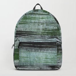 Gray green striped abstract Backpack