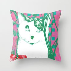 flower and cat Throw Pillow