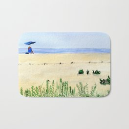 Assateague Island Watercolor Beach Painting Bath Mat