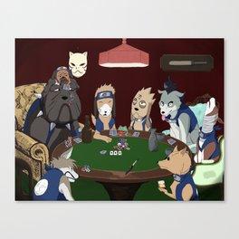 Kakashi Ninken Poker Dogs Canvas Print