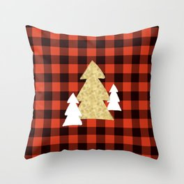 Trees on Red Plaid Throw Pillow